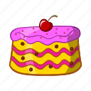 bakery, birthday, cake, cartoon, celebration, object, sign icon