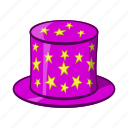 cap, cartoon, hat, magic, magician, object, sign icon
