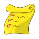 cartoon, check, checklist, document, list, object, sign icon
