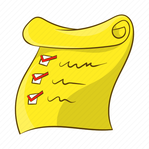Cartoon, check, checklist, document, list, object, sign icon - Download on Iconfinder