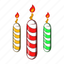 candles, cartoon, celebration, decoration, festive, object, sign icon