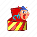 box, cartoon, jumping, object, sign, surprise, toy icon