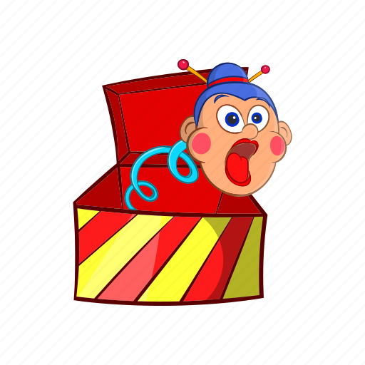 Box, cartoon, jumping, object, sign, surprise, toy icon - Download on Iconfinder