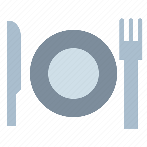cutlery, dinner, dish, fork, knife, plate, restaurant icon