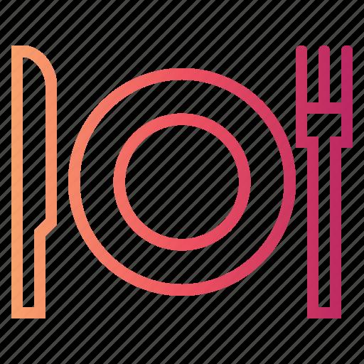cutlery, dinner, dish, fork, knife, plate, restaurant icon