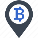 bitcoin, money, digital, cryptocurrency, location, pin, place