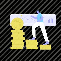 bitcoin, rich, cryptocurrency, coin, coins, climbing
