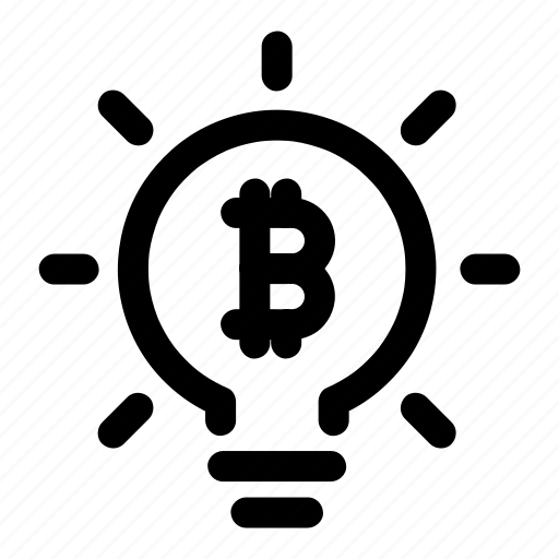 bitcoin, bulb, crypto, idea, mining icon