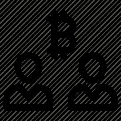 bitcoin, broker, save, share, user icon