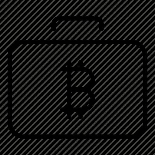 bitcoin, crypto, money, suitcase, virtual currency icon
