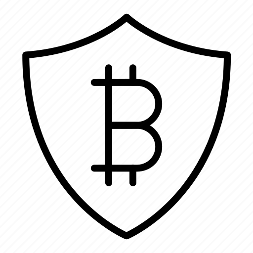 bitcoin, payment, secure, security, shield icon