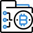 bitcoin, currency, digital, document, folder, money icon
