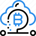 bitcoin, cloud, currency, digital, money, online icon