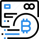 bitcoin, credit card, currency, digital, money, payment, shopping icon
