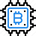 bitcoin, currency, digital, hardware, money icon