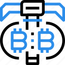 bitcoin, currency, dig, digital, exchange, money icon