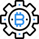 bitcoin, currency, digital, gear, money, process icon