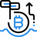 bitcoin, currency, digital, growth, investment, money icon