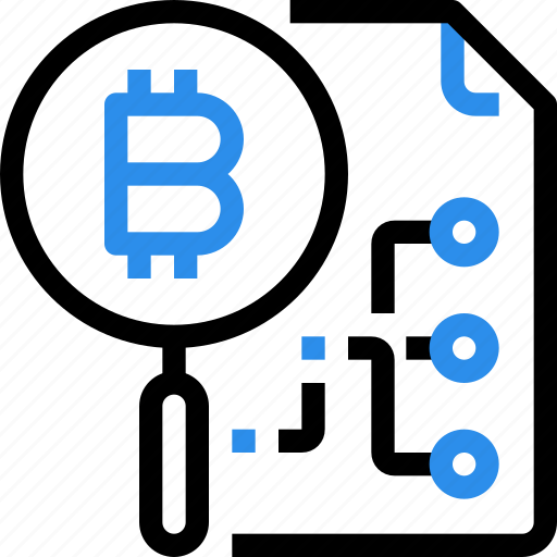 bitcoin, currency, digital, file, money, research, search icon
