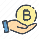 bitcoin, coin, crypto, cryptocurrency, hand, hold, payment icon