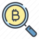 bitcoin, blockchain, crypto, cryptocurrency, find, review, search icon