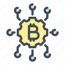 bitcoin, blockchain, connection, crypto, cryptocurrency, currency, network icon