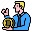 bitcoin, consultant, investment, profit icon