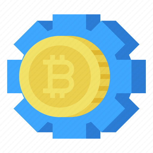 bitcoin, currency, gear, money icon