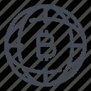 bitcoin, blockchain, crypto, cryptocurrency, globe, internet, online icon