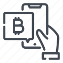 bitcoin, crypto, hand, mobile, online, phone, wallet icon