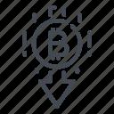 arrow, bitcoin, blockchain, crypto, cryptocurrency, down, fall icon