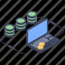 bitcoin database, bitcoin server, cryptocurrency server, mining frame server icon