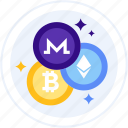 altcoins, bitcoin, crypto, cryptocurrency, ethereum, monero icon
