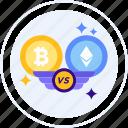 bitcoin, currency, ethereum, exchange, vs