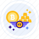 bitcoin, commodity, exchange, gold, gold bar, vs