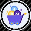 altcoin, bitcoin, cart, ethereum, monero, shopping, trolley