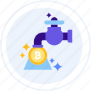 bitcoin, coin faucet, pump, tap, tap water, water pump icon