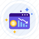 bitcoin, chart, cryptocurrencies, down, going, stock, stock market icon
