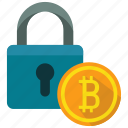 bitcoin, lock, protection icon