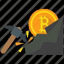 bitcoin, cryptocurrency, mine, mining icon