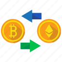 bitcoin, cryptocurrency, digital currency, exchange icon