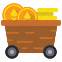 cryptocurrency, ethereum, mine, trolley icon