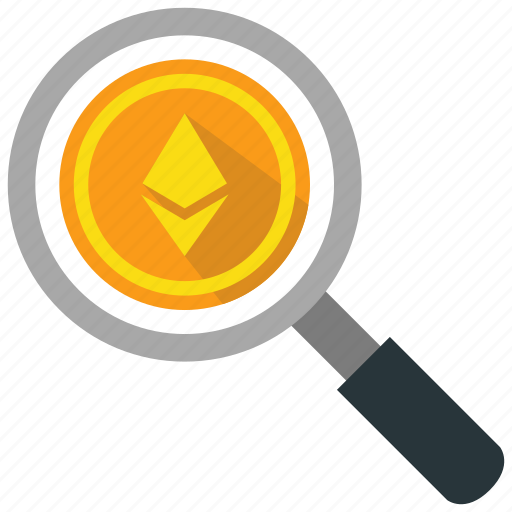 cryptocurrency, ethereum, find, search icon