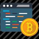 bitcoin, code, coding, mining icon
