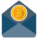 bitcoin, email, mail, message icon