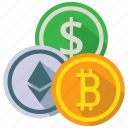 coins, cryptocurrency, digital currency, money icon
