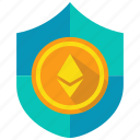 ethereum, protect, security, shield icon