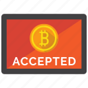 accepted, bitcoin, cryptocurrency icon