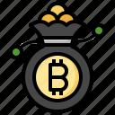 money, bag, budget, bitcoin, blockchain, cryptocurrency