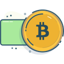 bitcoin, pay, pay with bitcoin, paying icon